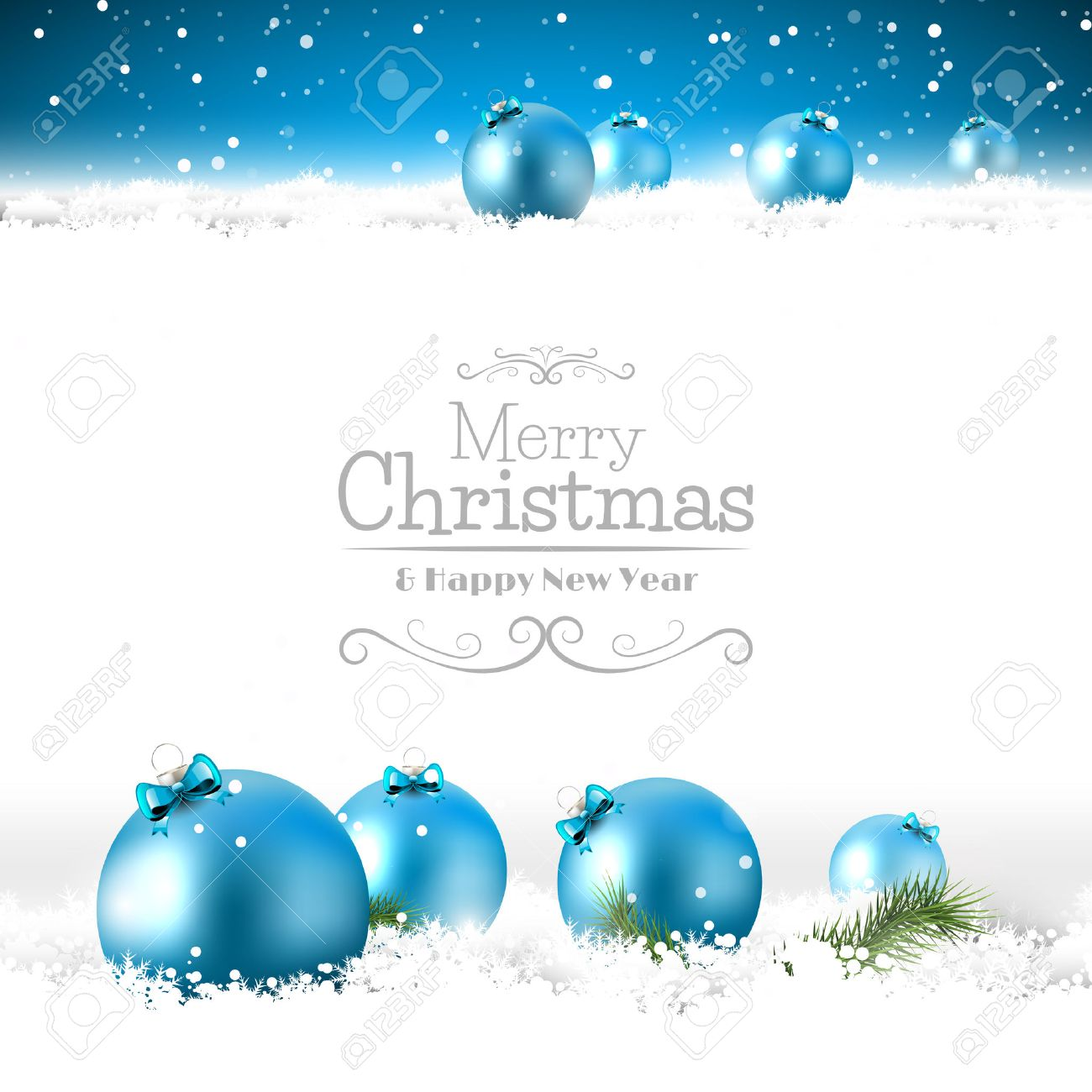 Blue Christmas Grußkarte Mit Kugeln Im Schnee Lizenzfrei Nutzbare ...