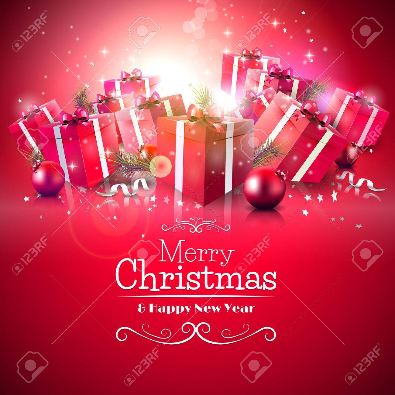 Luxury Christmas Greeting Card With Red Gift Boxes And Calligraphic  Lettering Stock Vector   32440458
