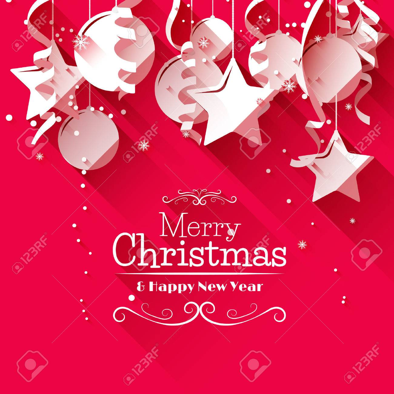 Greeting stock photos royalty free greeting images modern christmas greeting card with paper decorations on red background flat design style m4hsunfo