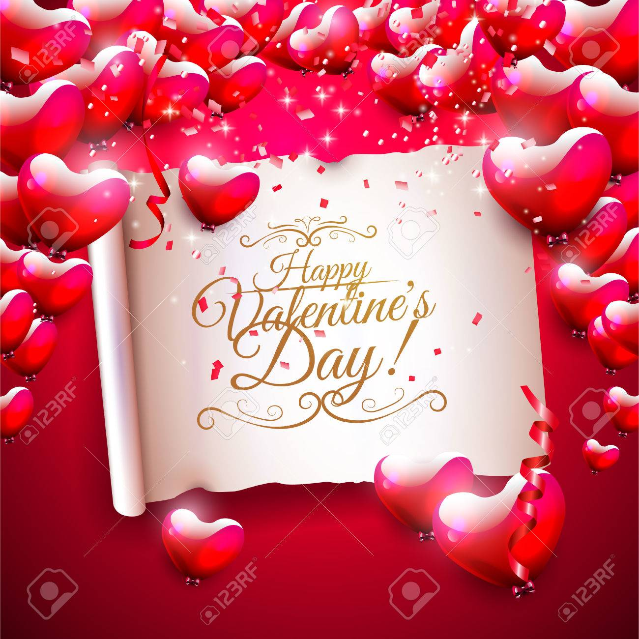 Modern valentines day greeting card with glossy heart shaped modern valentines day greeting card with glossy heart shaped balloons and old paper with calligraphic m4hsunfo Image collections