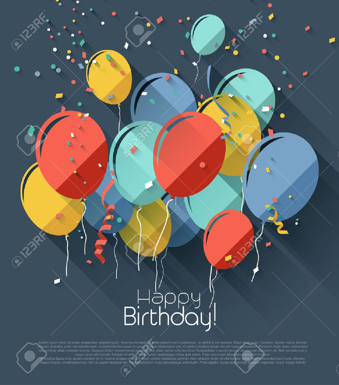 Birthday Greeting Card With Colorful Balloons Flat Design Style – Images of Birthday Greeting