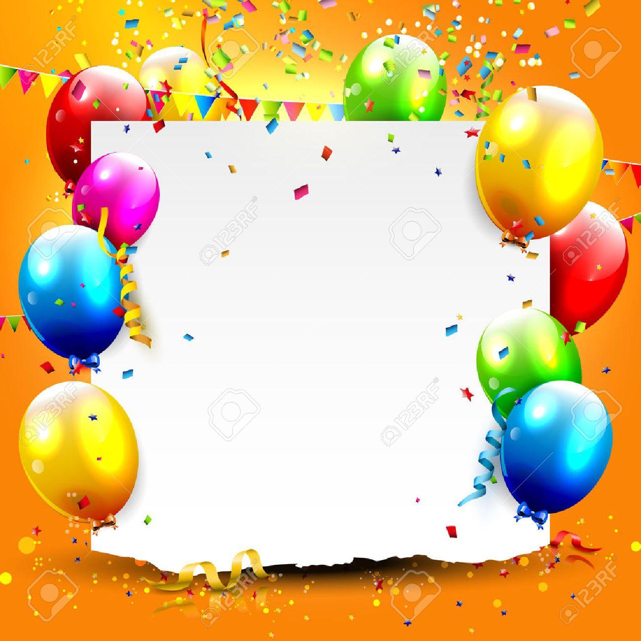 Einladung Geburtstag: Geburtstag Hintergrund Mit Bunten Luftballons Und  Platz Für Ihren Text Illustration