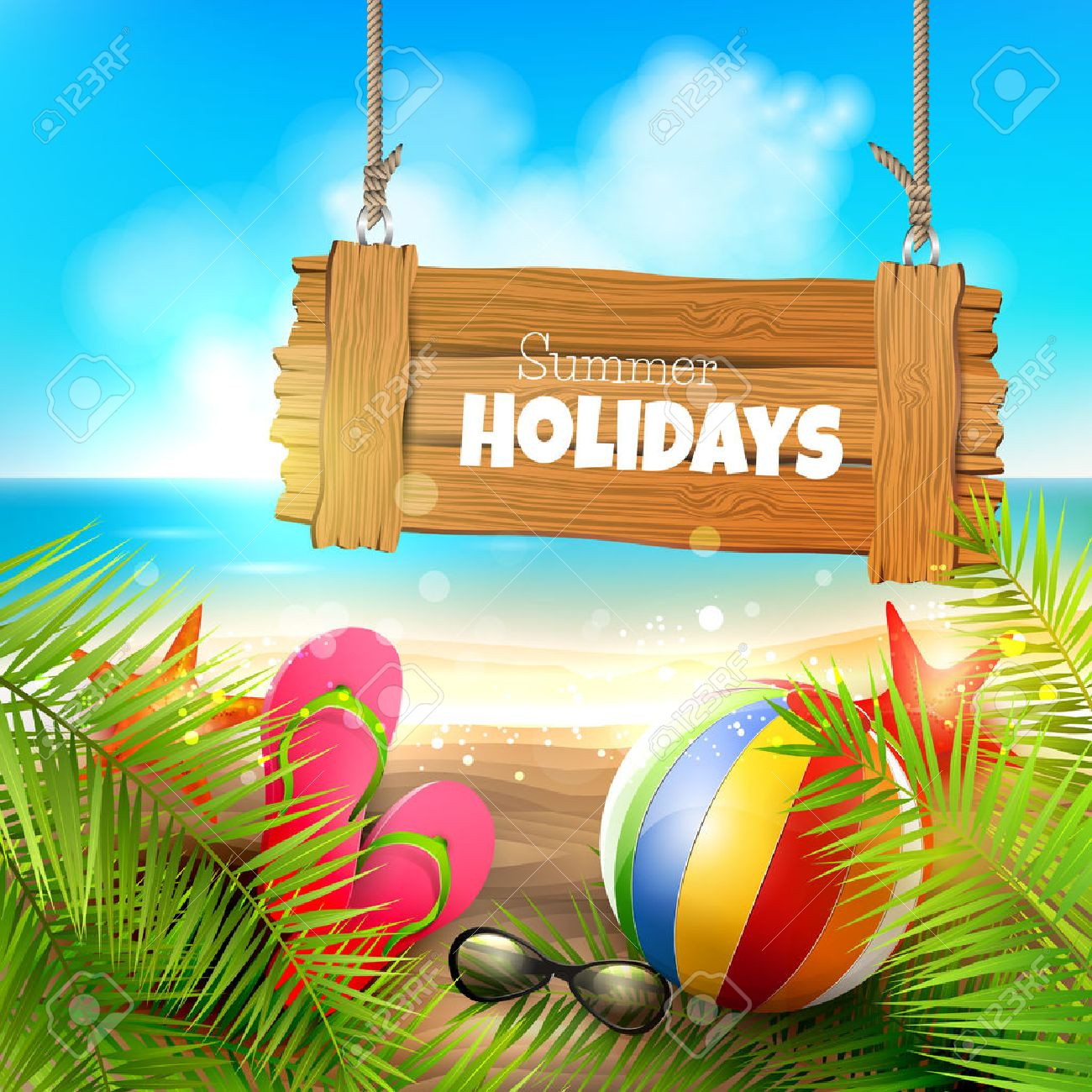 Summer holidays - background with wooden sign on the beach - 39788641