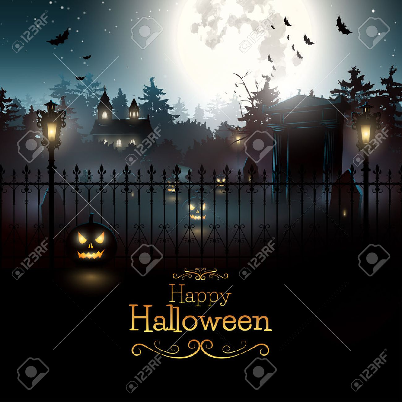 scary graveyard in the woods - halloween background royalty free