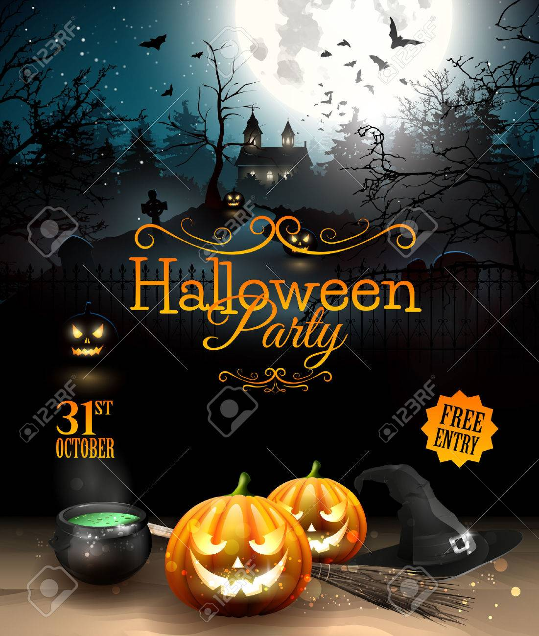 Halloween Party Flyer With Pumpkins, Hat, Pot And Old Broom In ...