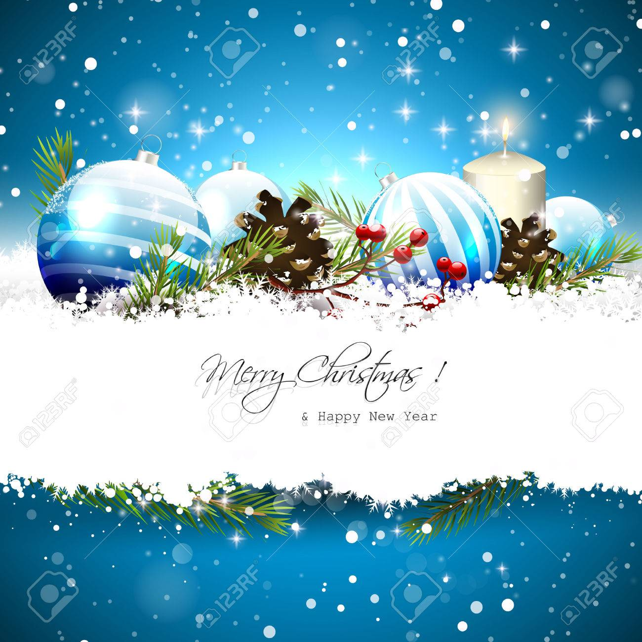 Christmas Greeting Card With Blue Baubles, Branches,pinecones ...