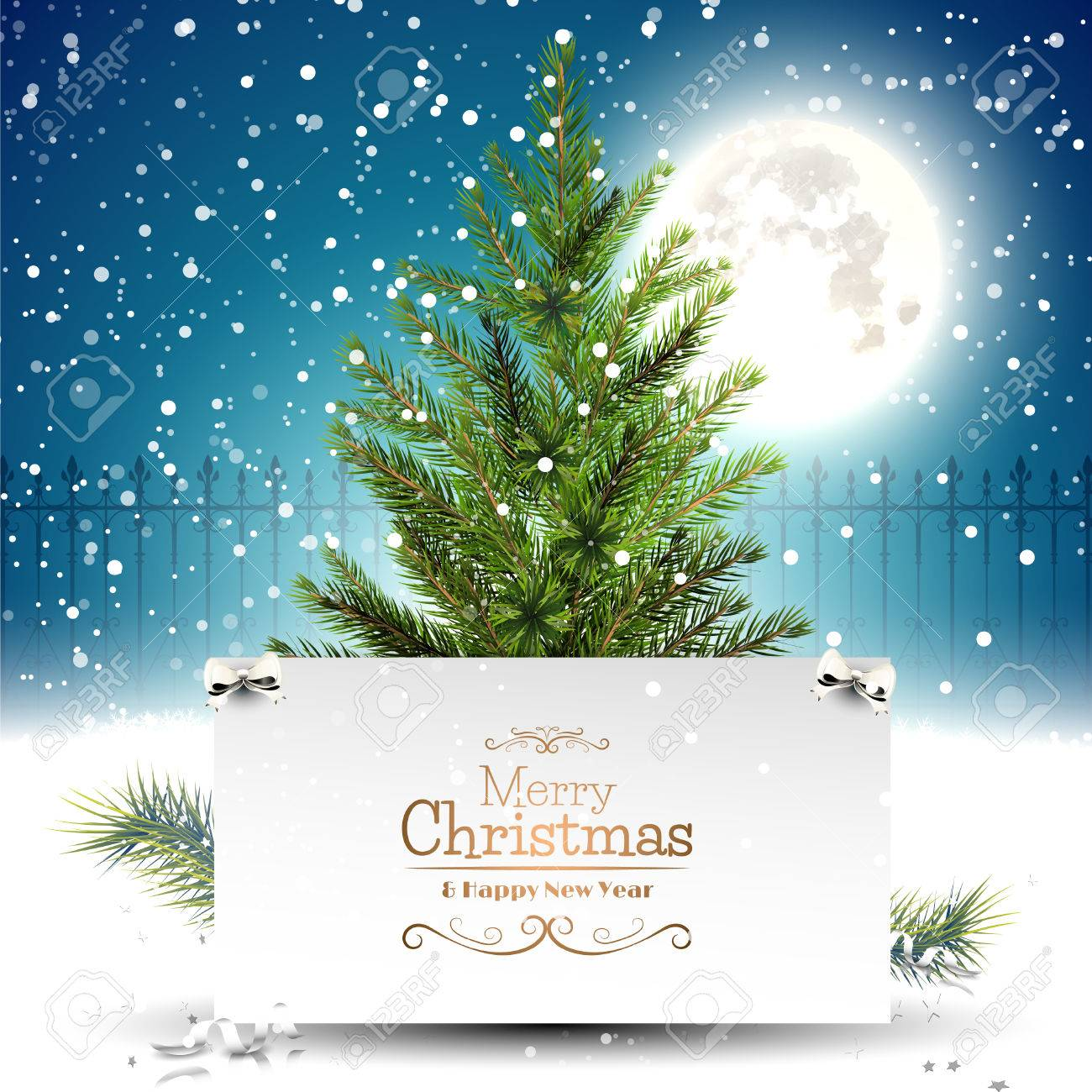 Christmas greeting card with christmas tree in front of a night christmas greeting card with christmas tree in front of a night landscape stock vector 48001930 m4hsunfo