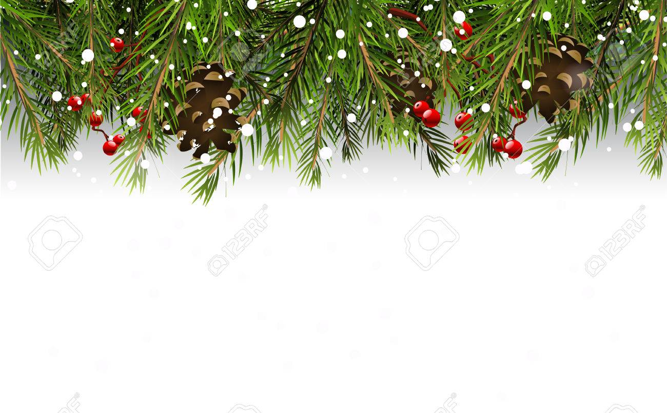 Christmas Boarder.Christmas Border With Branches Pinecones And Berries On White