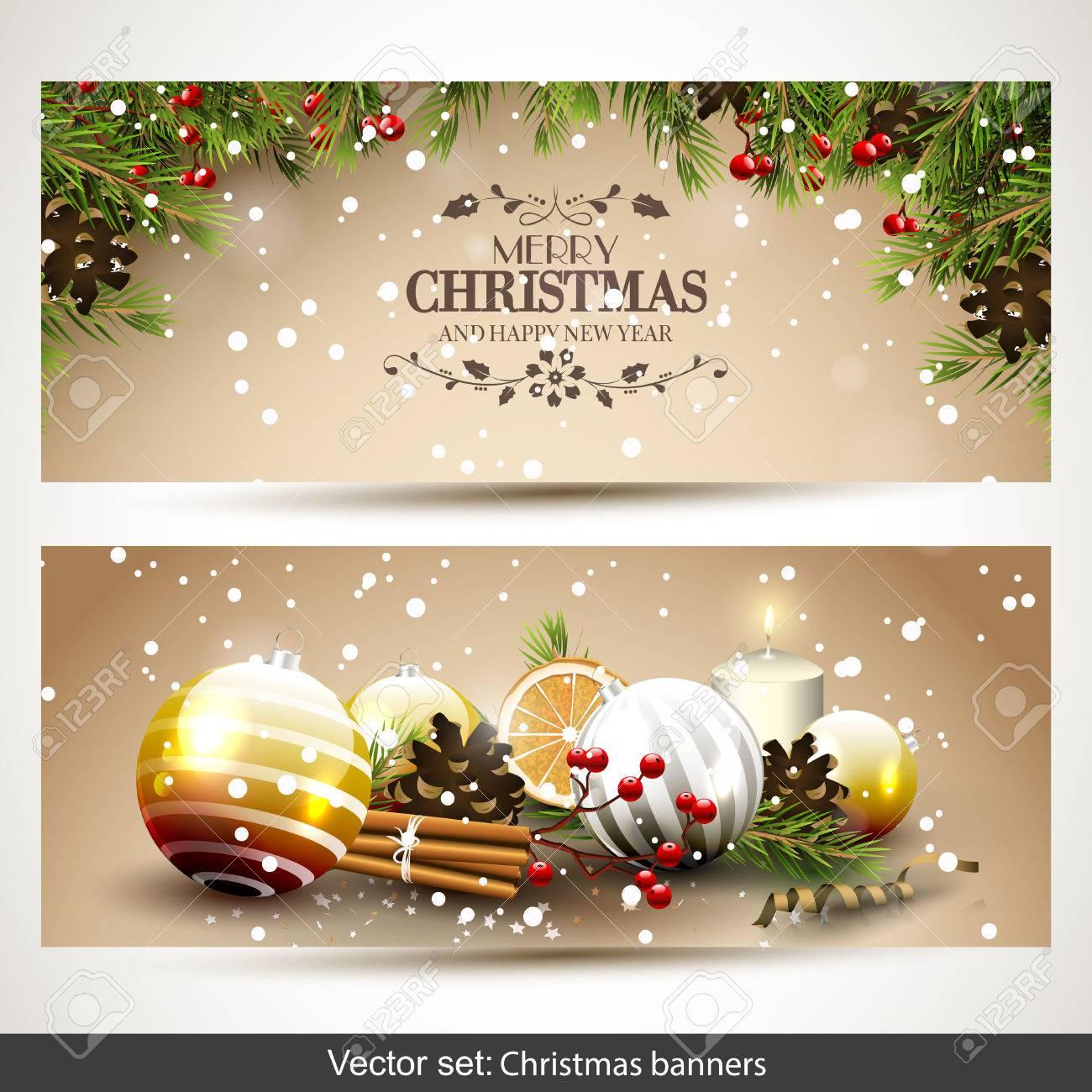 Christmas Banners.Vector Set Of Two Christmas Banners