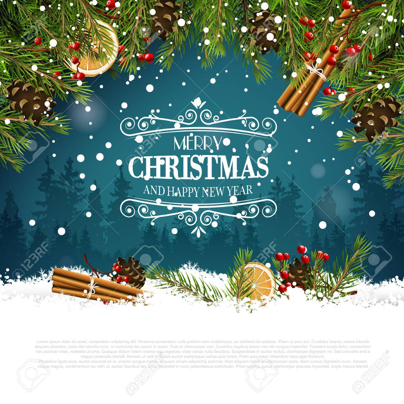 Christmas greeting card with traditional decorations and calligraphic lettering - 48786758