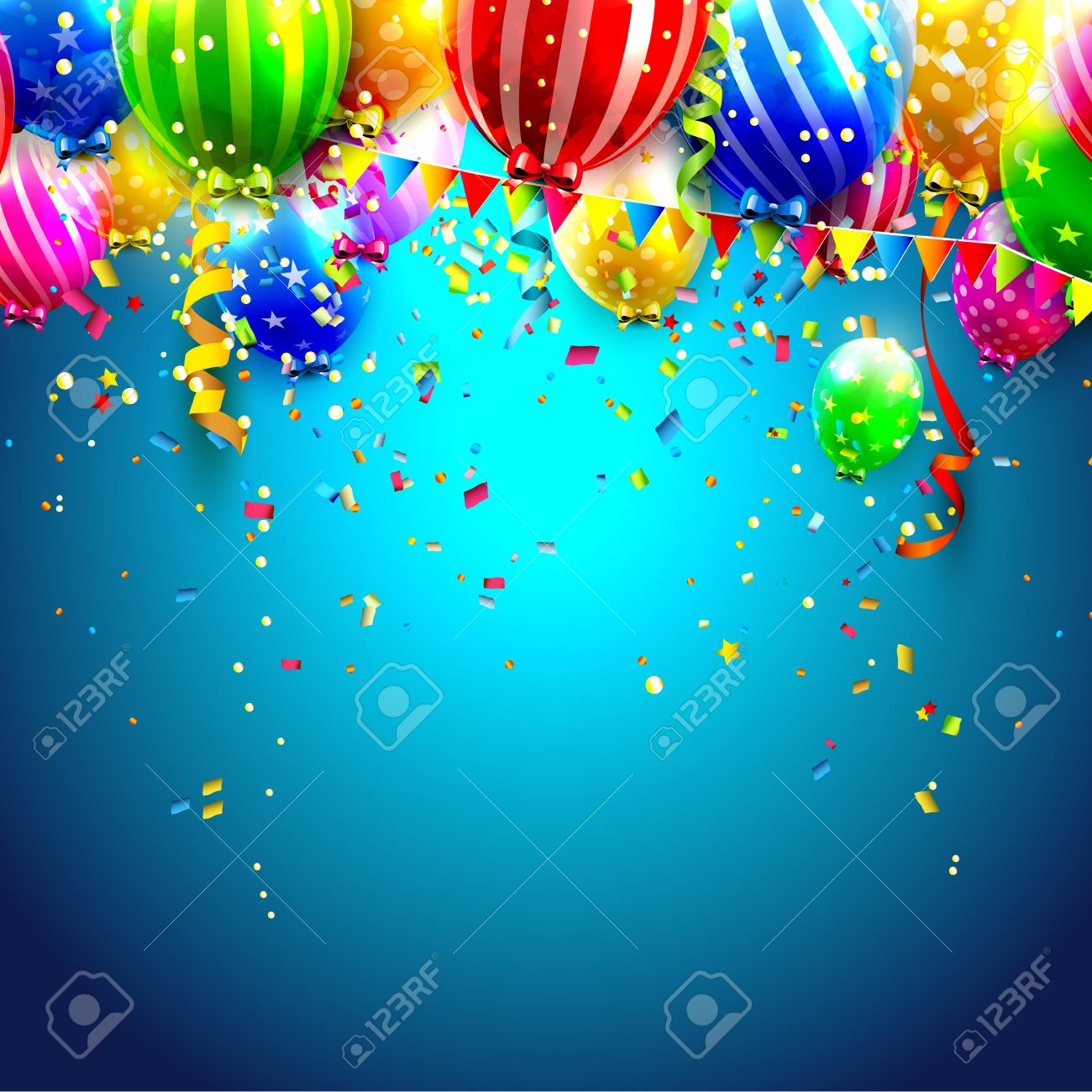 Birthday Card With Colorful Transparent Balloons And Confetti