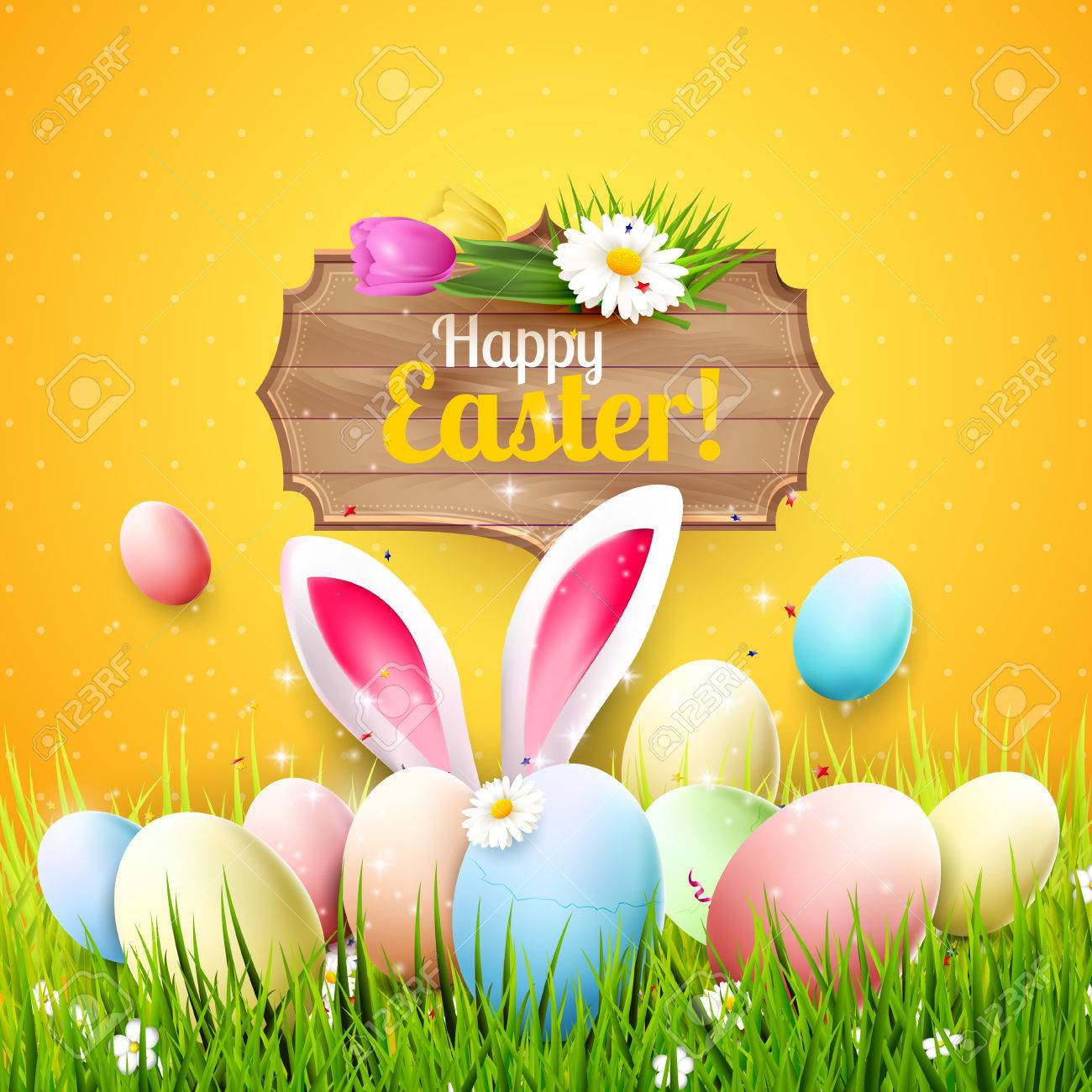 Easter greeting card with colorful eggs bunny ears and wooden easter greeting card with colorful eggs bunny ears and wooden sign on orange background stock m4hsunfo