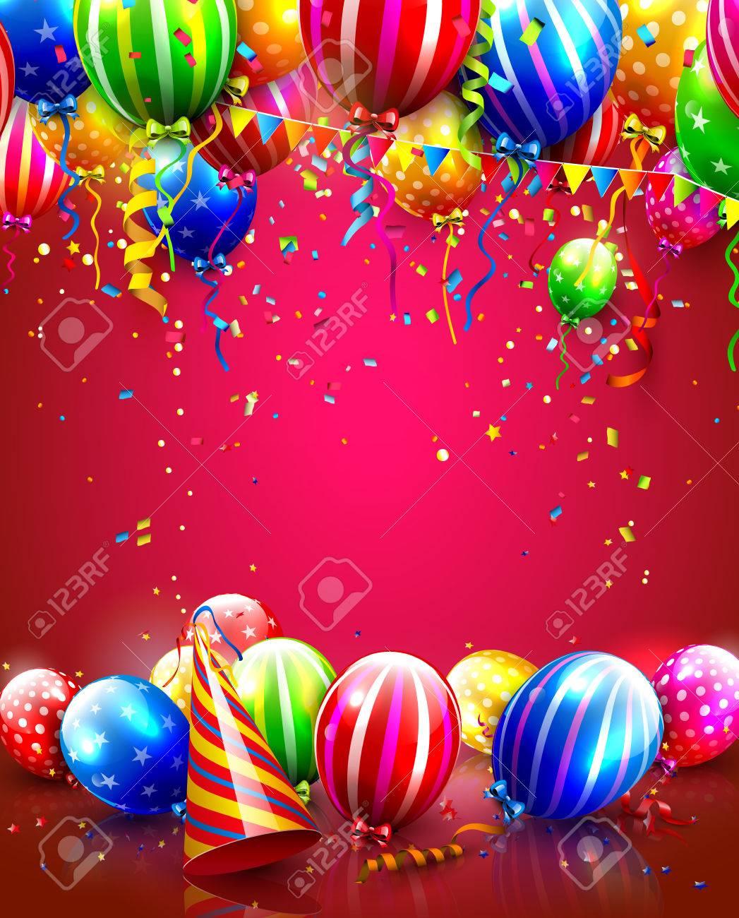 cartel de cumpleaos con globos de colores confeti y sombrero de fiesta foto de archivo