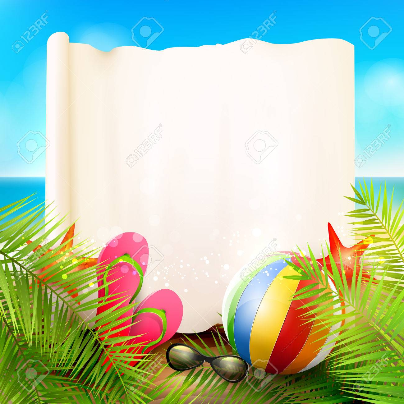 Seaside view on beautiful sunny beach with palm leaves, beach ball, sunglasses and flip-flops - vector background with empty paper with place for your message - 59004909