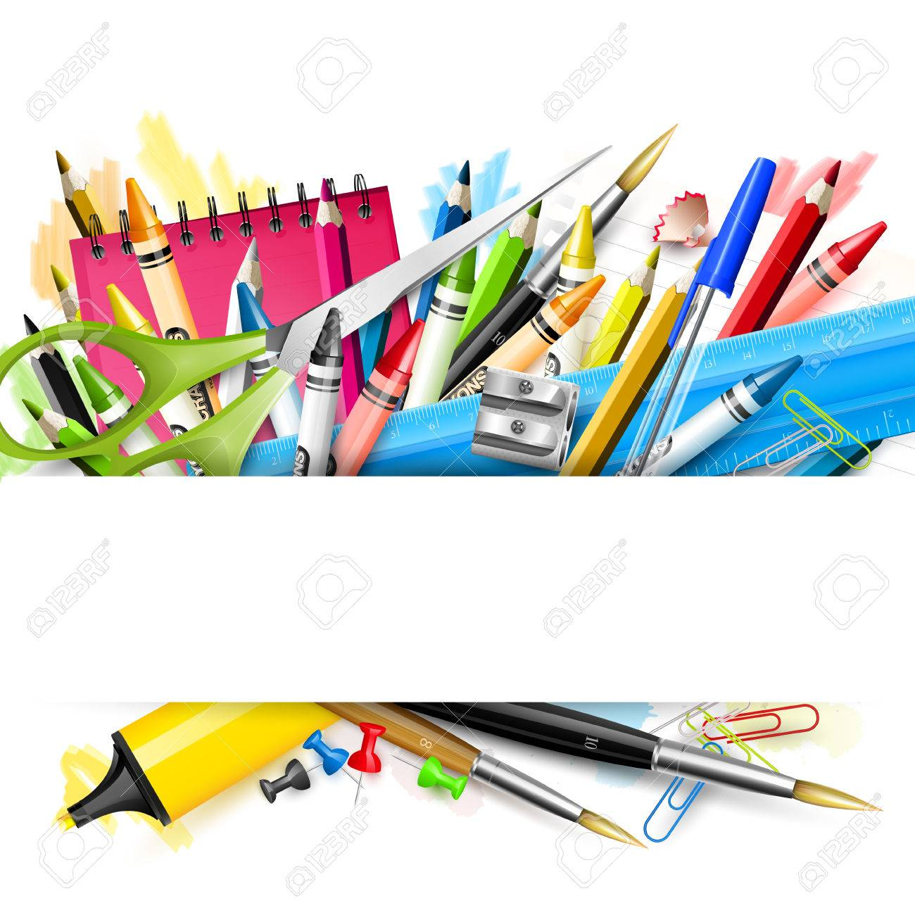 School background with school supplies on white background - 59004984