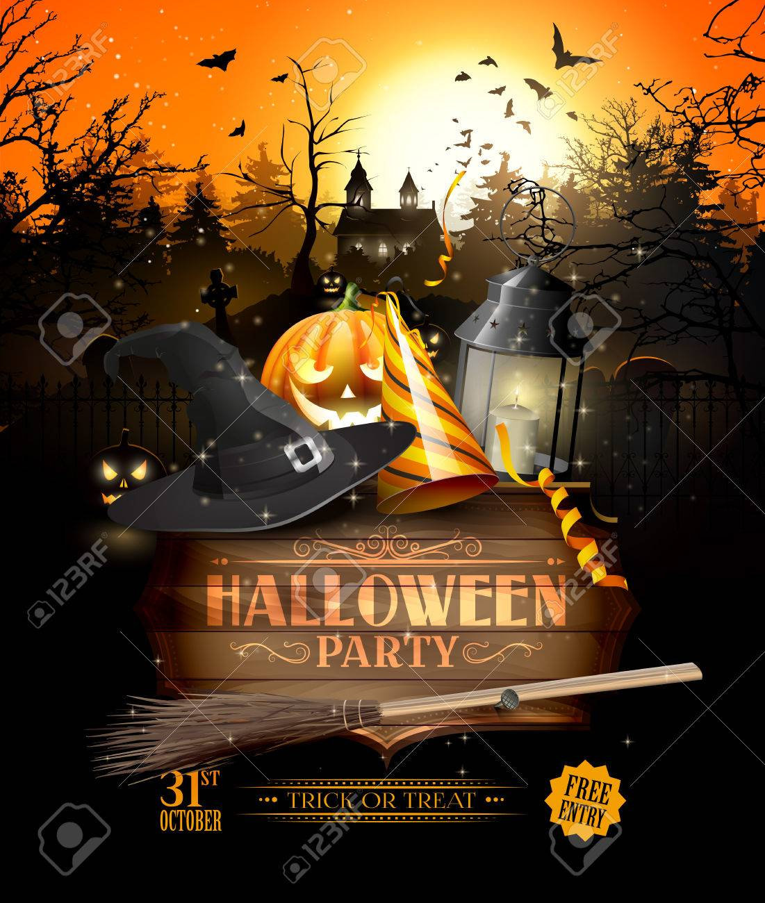Modern Halloween Party Flyer With Black Lantern, Lights And Wooden ...