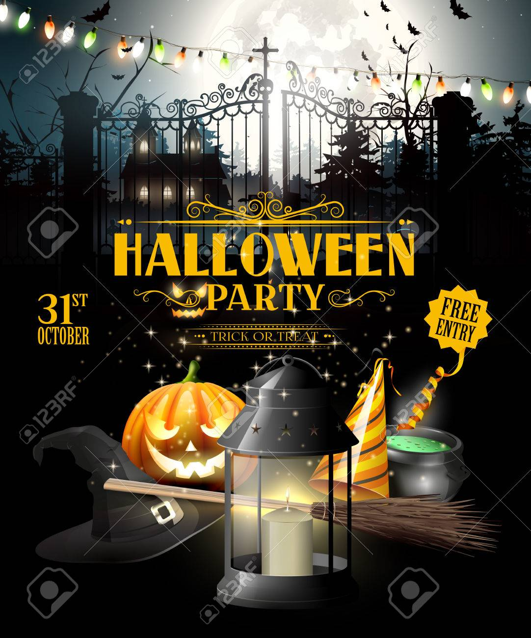 Modern Halloween Party Flyer With Black Lantern, Lights And ...