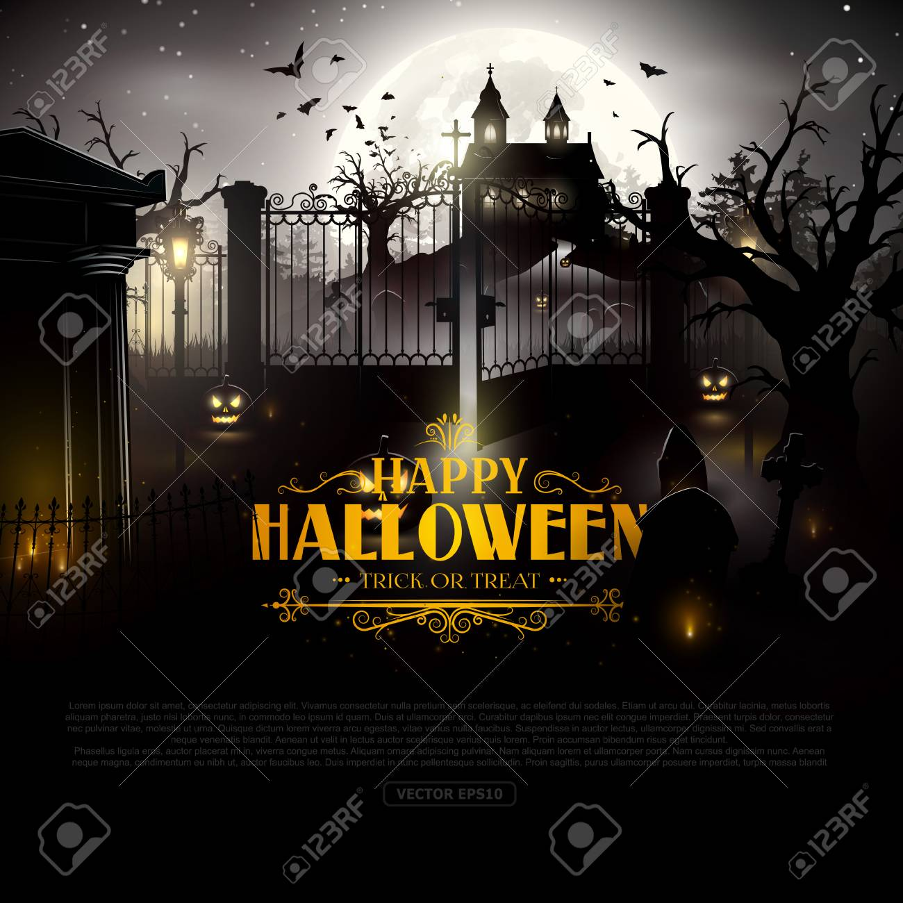 scary old graveyard and church in the woods halloween background stock vector 63133407