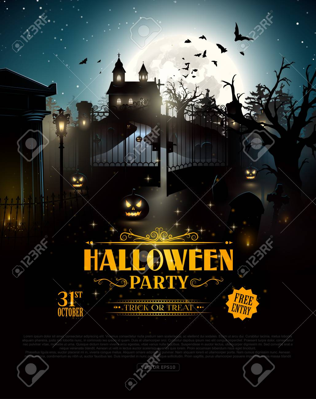 scary old graveyard and church in the woods halloween party poster stock vector 63133440