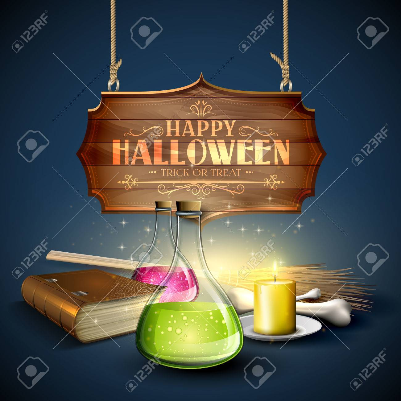 halloween greeting card - tubes with potions, old book, pumpkins and