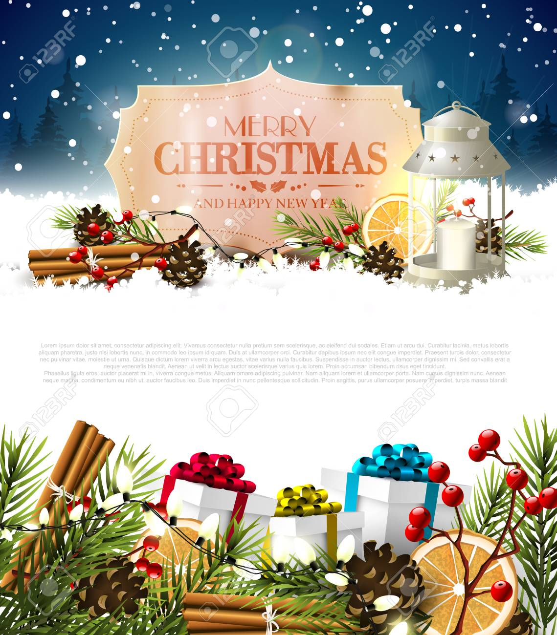 Christmas Greeting Card With Traditional Decorations And Vintage ...