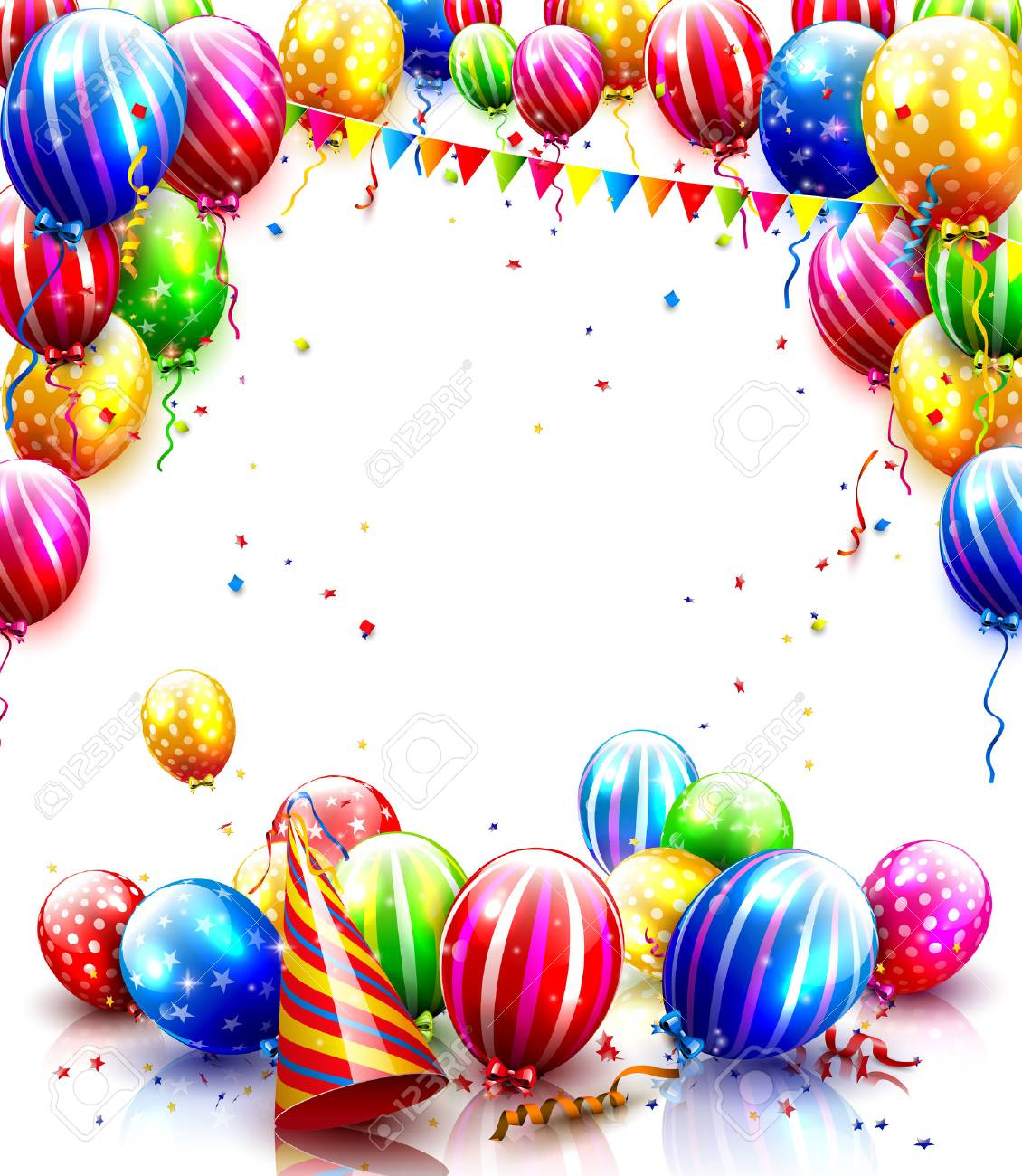 Colorful balloons and confetti isolated on white background., Party..