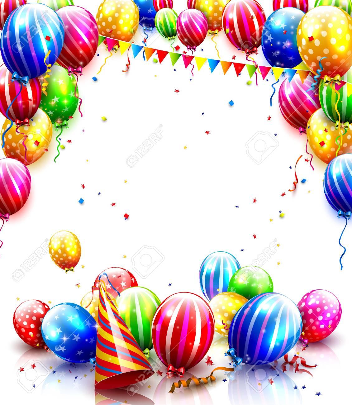 Beste Kleurrijke Ballonnen En Confetti Geïsoleerd Op Een Witte HD-79