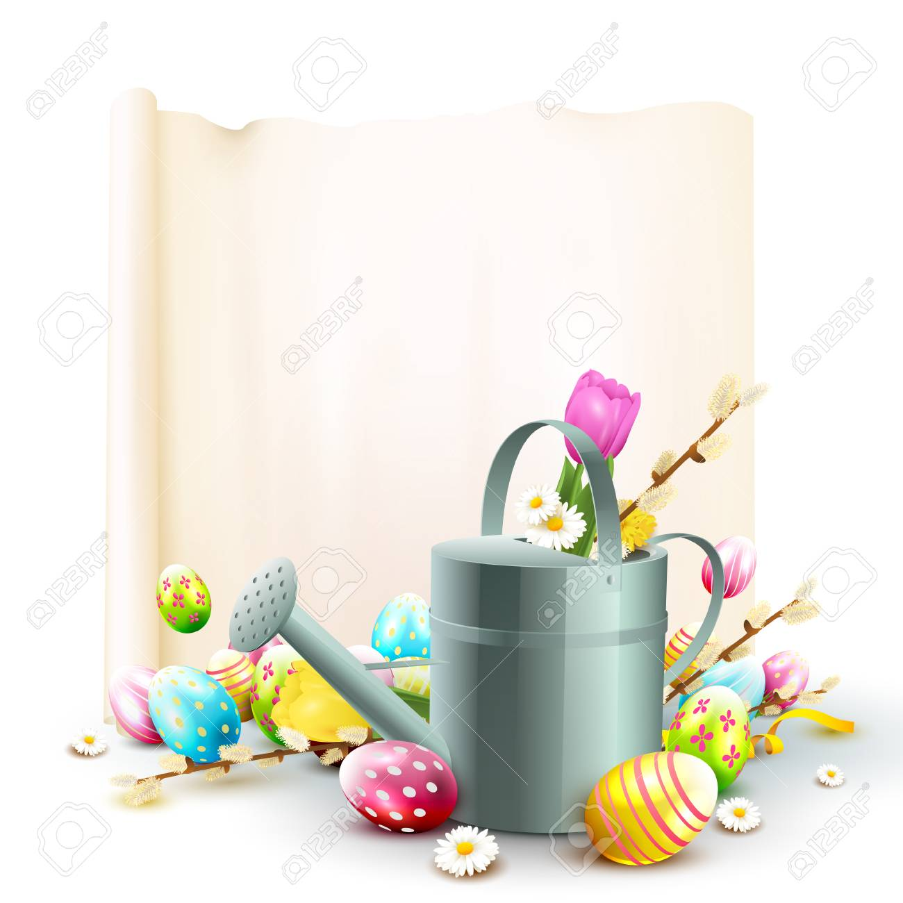 cute easter template with flowers easter eggs ladybug and watering