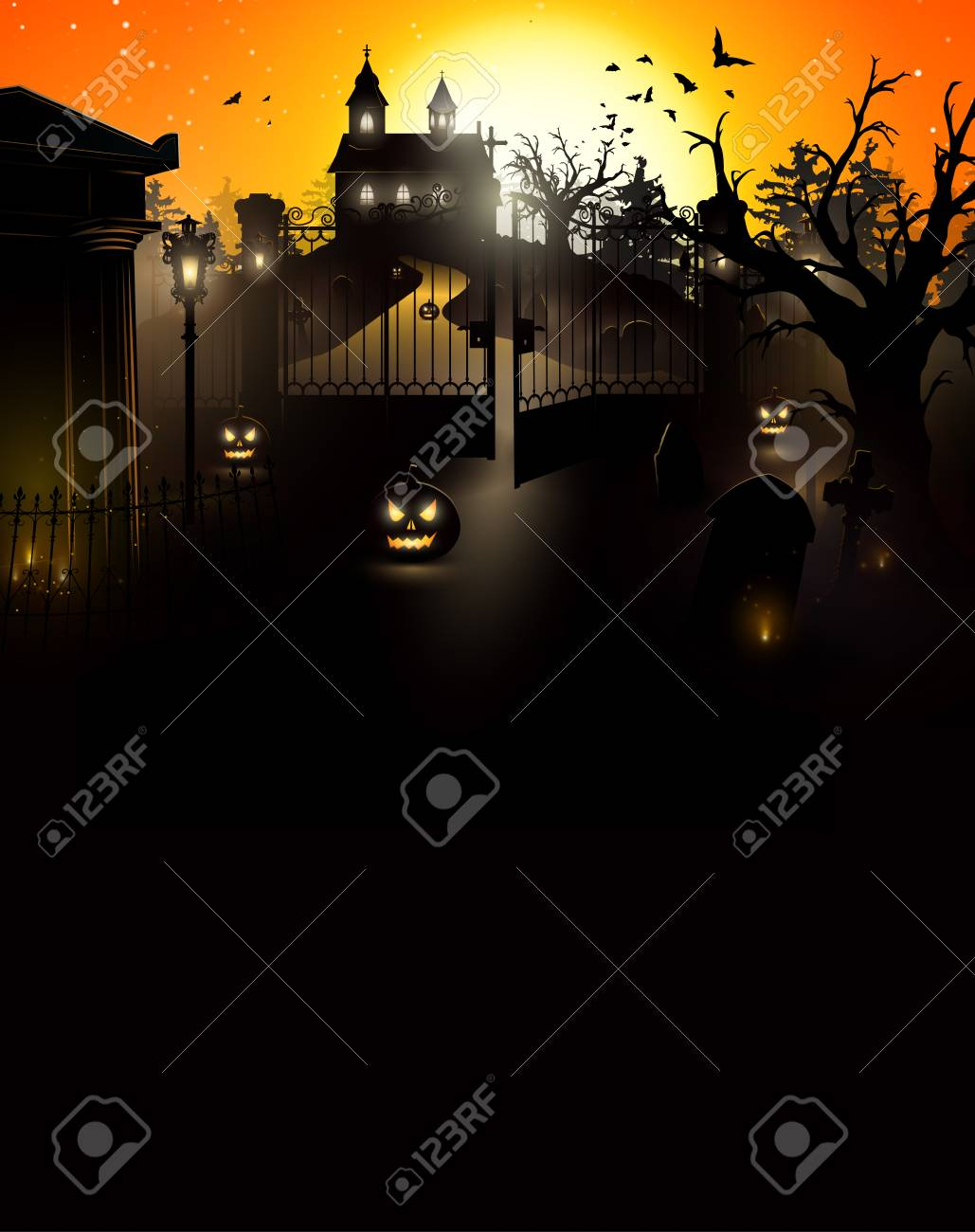 halloween mysterious cemetery with a crypt and a church on the hill flyer with place