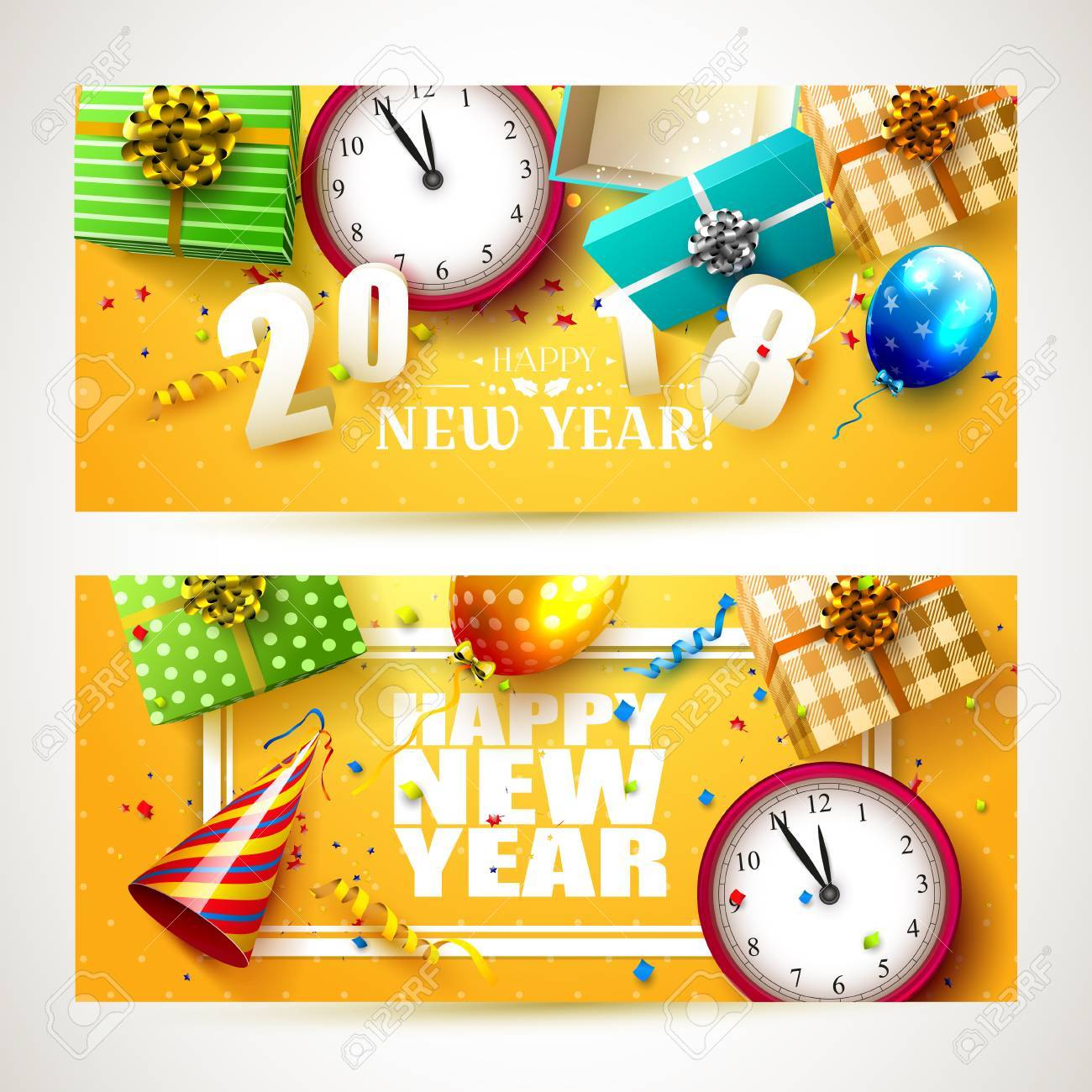 happy new year 2018 headers or banners with colorful gift boxes balloons and party