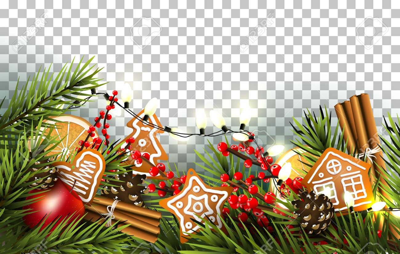 Christmas border with fir branches, traditional decorations and..