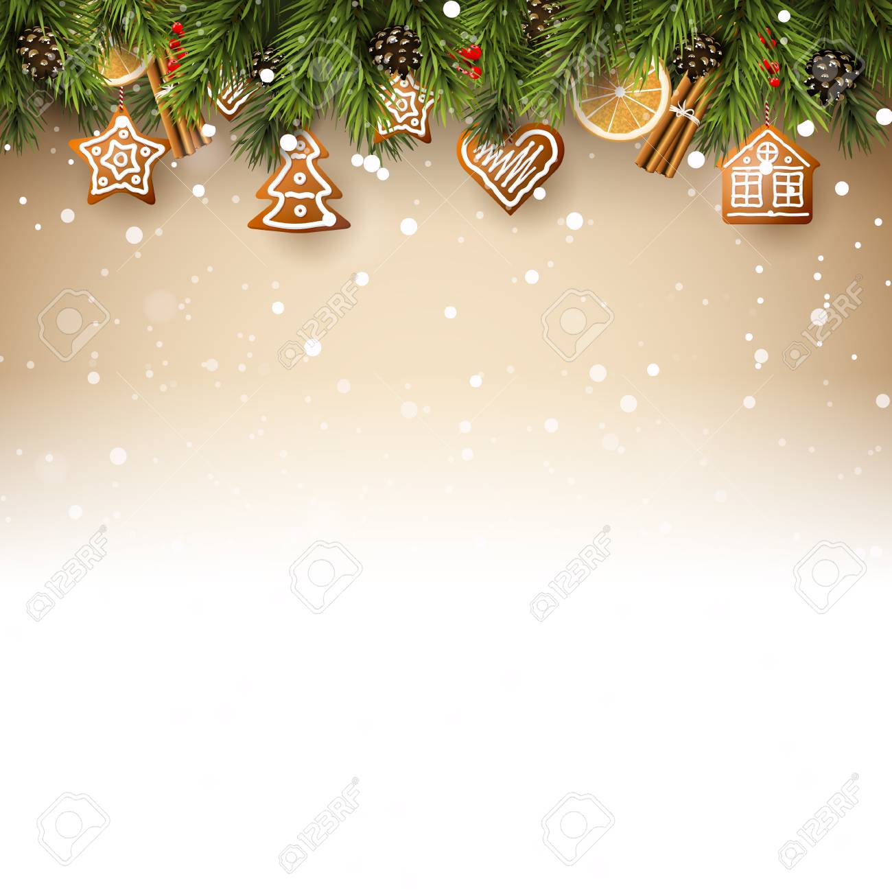 Christmas background with fir branches, traditional decorations and gingerbreads - 90818508