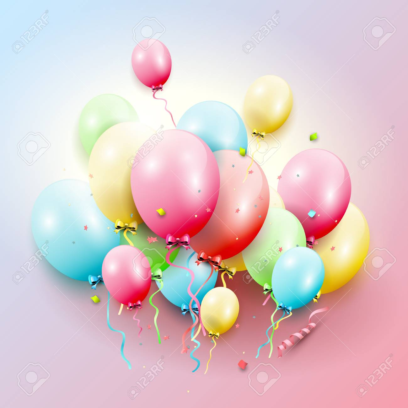 Happy Birthday Greeting Card With Colorful Balloons On Pink Background Stock Vector
