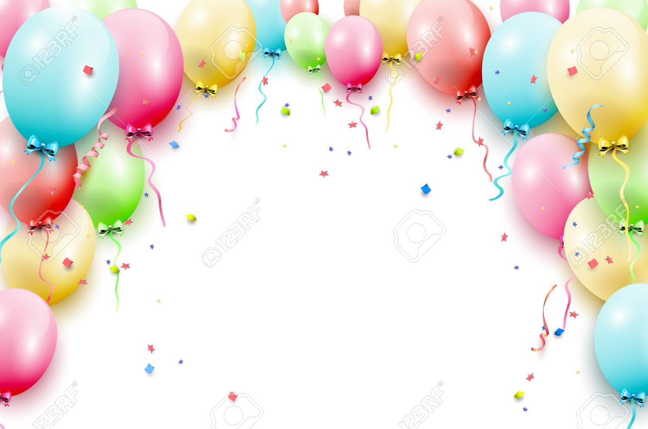 Birthday Template With Colorful Balloons On White Background Stock Vector