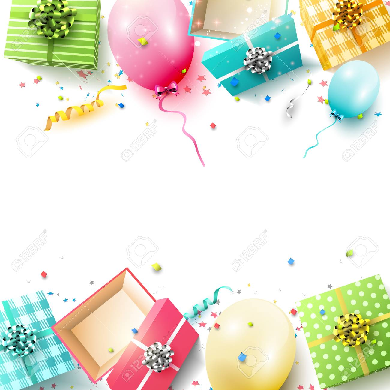 Happy Birthday Greeting Card With Colorful Gift Boxes And Balloons On White Background Stock Vector
