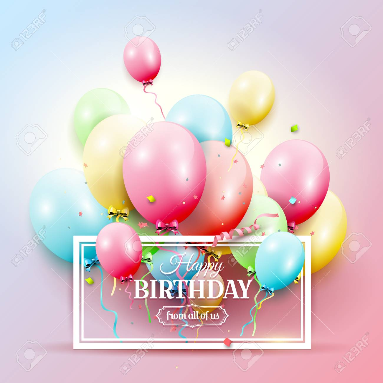 Happy birthday greeting card with colorful birthday balloons happy birthday greeting card with colorful birthday balloons on pink background stock vector 94027235 m4hsunfo