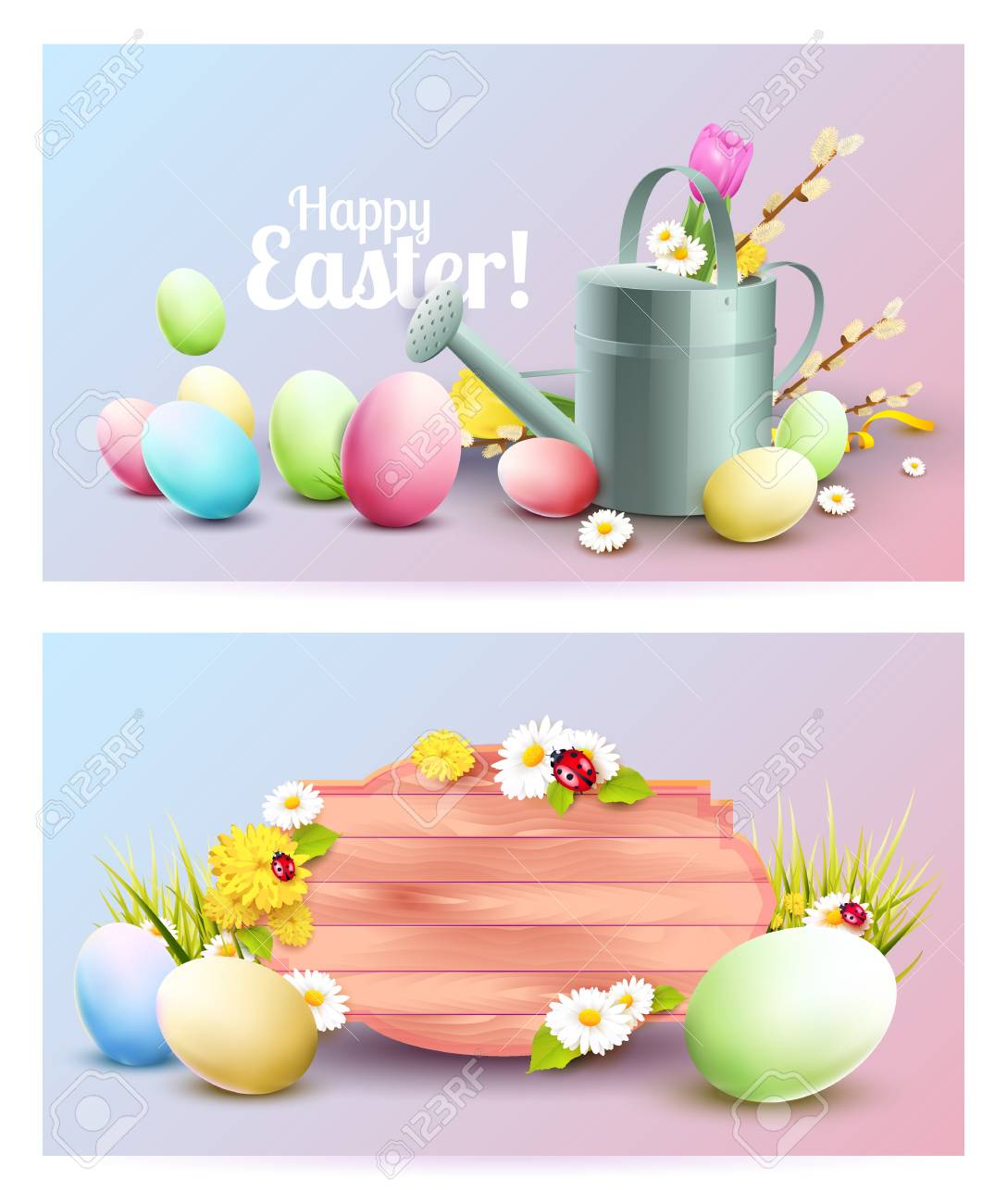 Set Of Two Easter Headers Or Banners With Colorful Eggs Watering Can And Flowers Stock