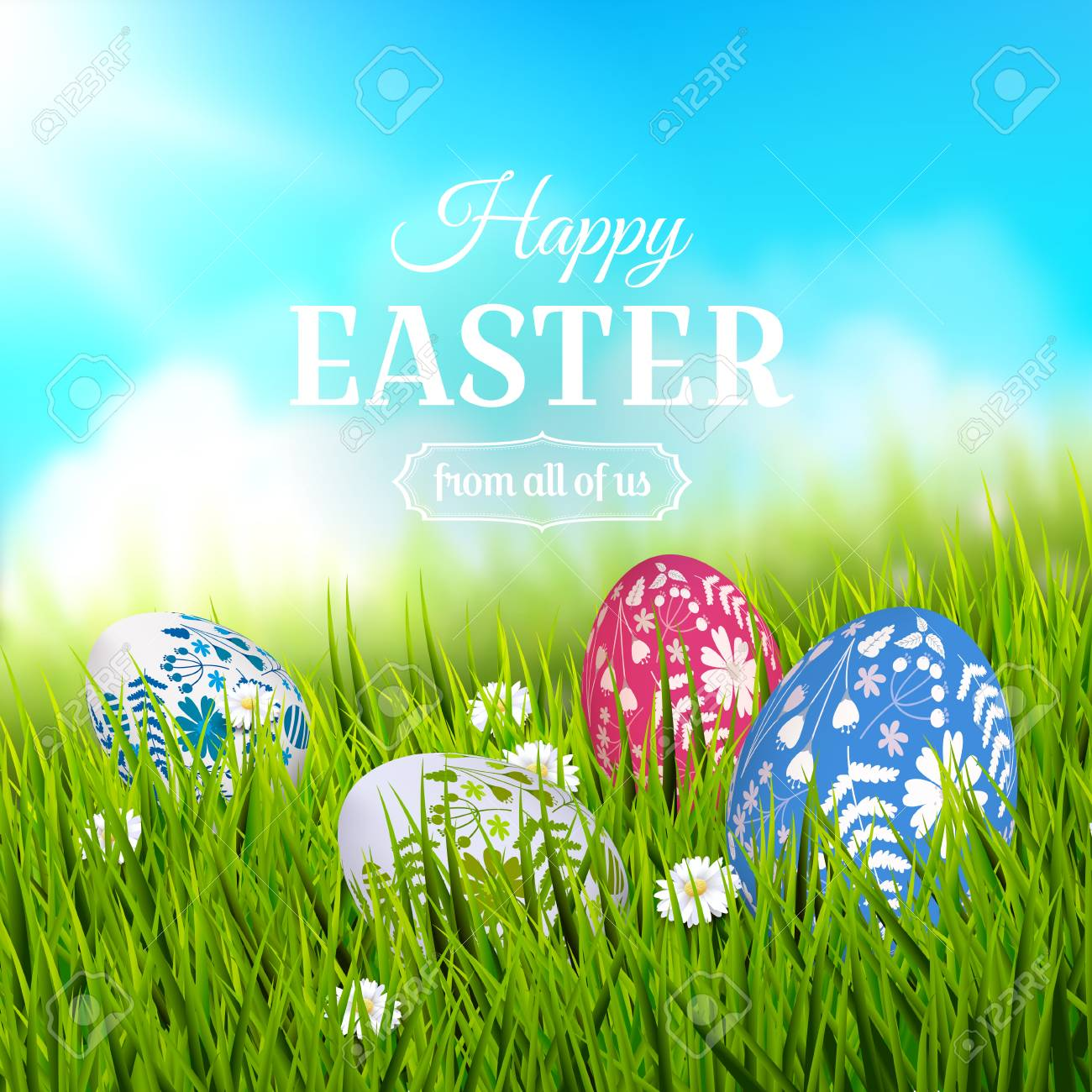 Traditional easter greeting card with colorful painted easter traditional easter greeting card with colorful painted easter eggs in the grass stock vector m4hsunfo
