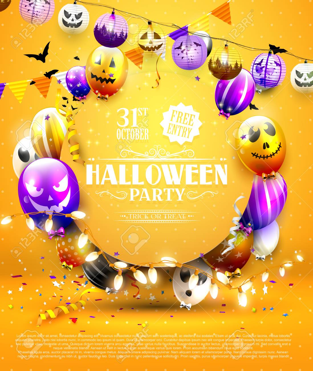halloween party template with colorful balloons with scary faces