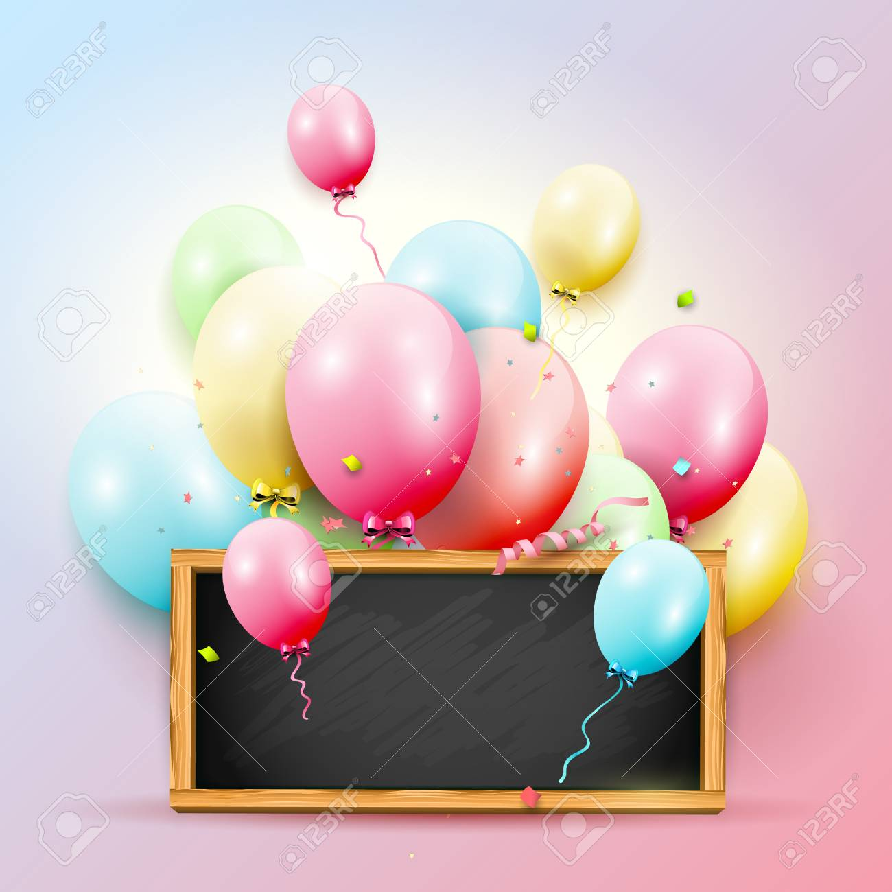Happy Birthday Greeting Card With Colorful Balloons On Pink Background Standard Bild