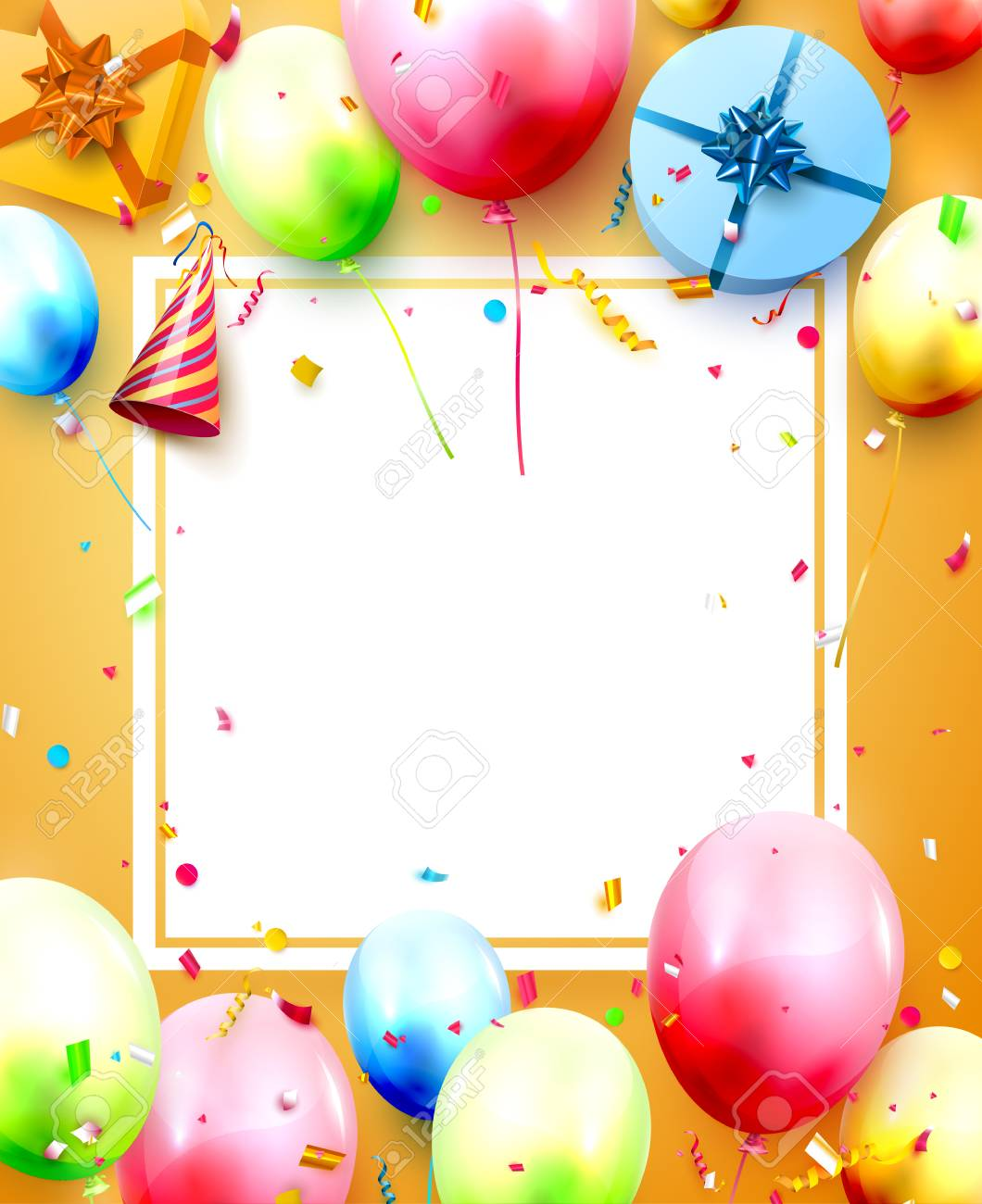 Happy birthday party template with colorful balloons, gift boxes and confetti on orange background. Space for your text - 125849044