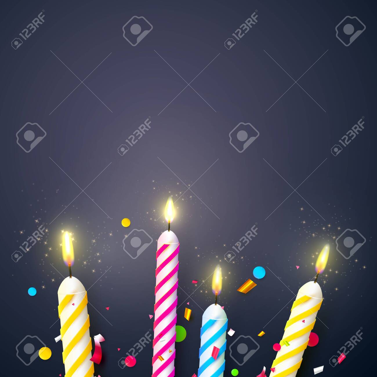 Colorful Sparkling Candles On Dark Background Birthday Anniversary Or Celebration Template Stock Vector