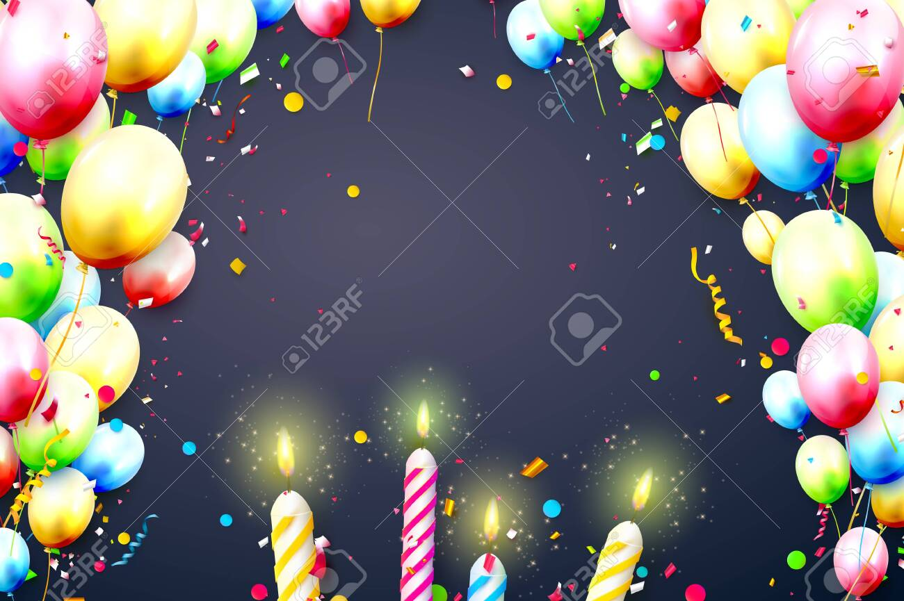 Happy birthday party template with colorful balloons, candles, gift boxes and confetti on orange background. Space for your text - 122794093