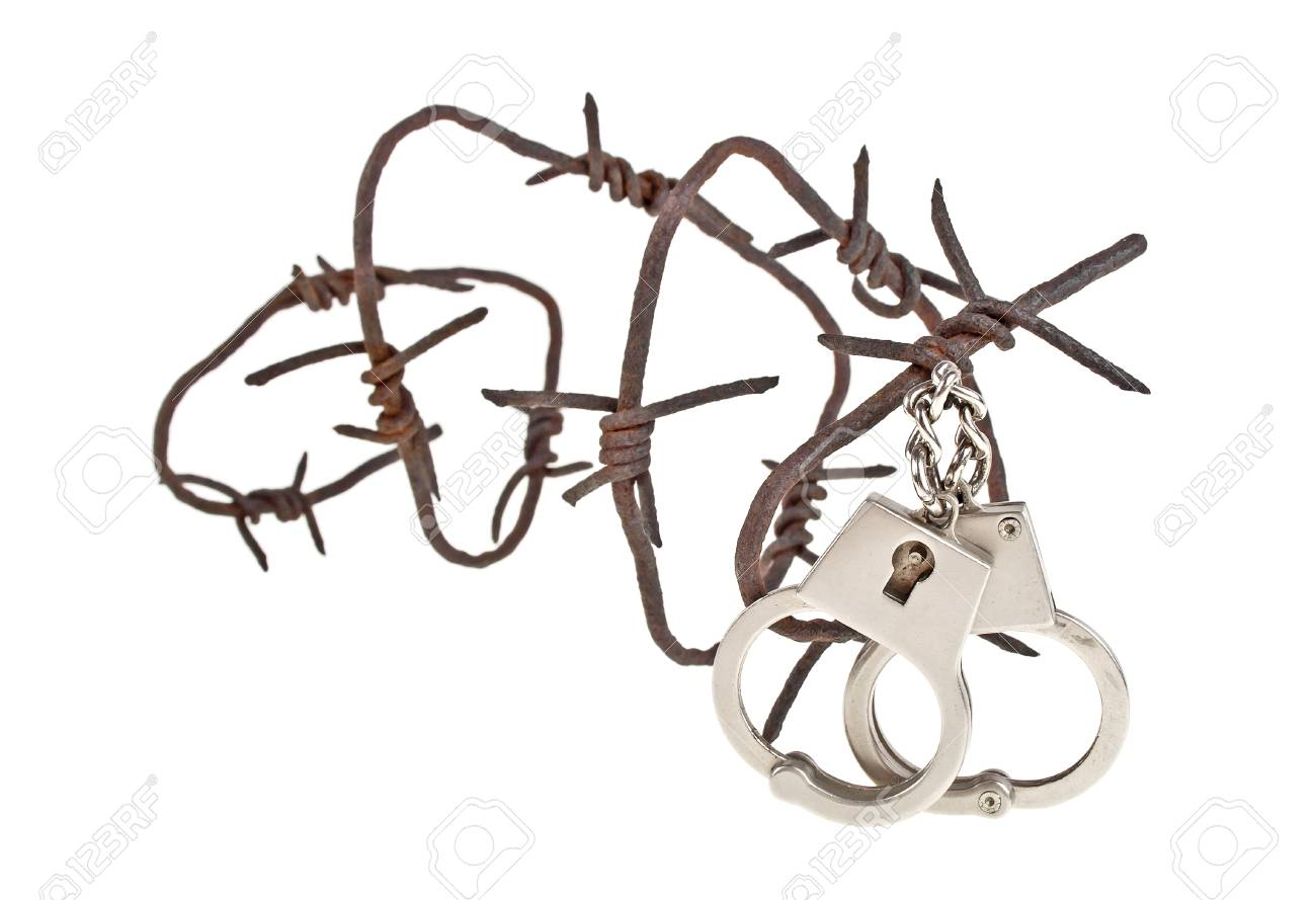 Rusty Barbed Wire And Handcuffs On A White Background Stock Photo ...