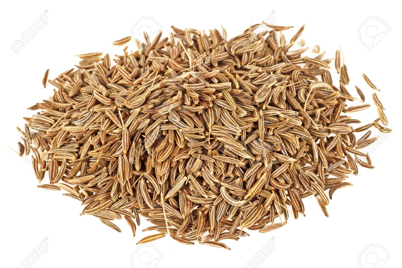 Dried cumin seeds on a white background - 89854240