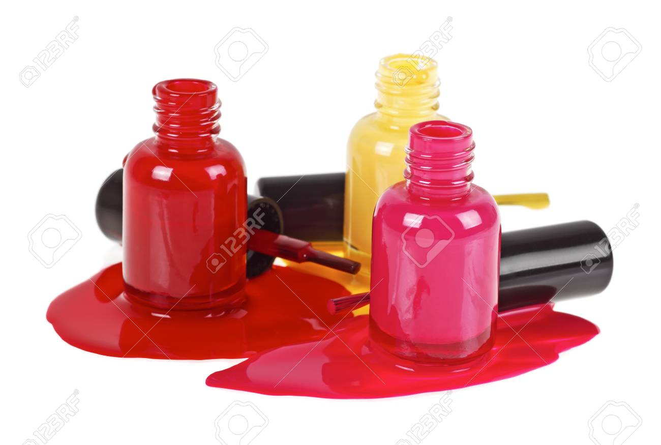 Colorful Nail Polish Splatter On A White Background, Top View Stock ...