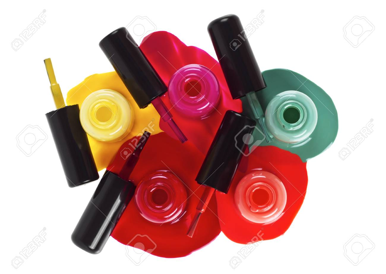 Top View Of Nail Polish Splatter On A White Background Stock Photo ...