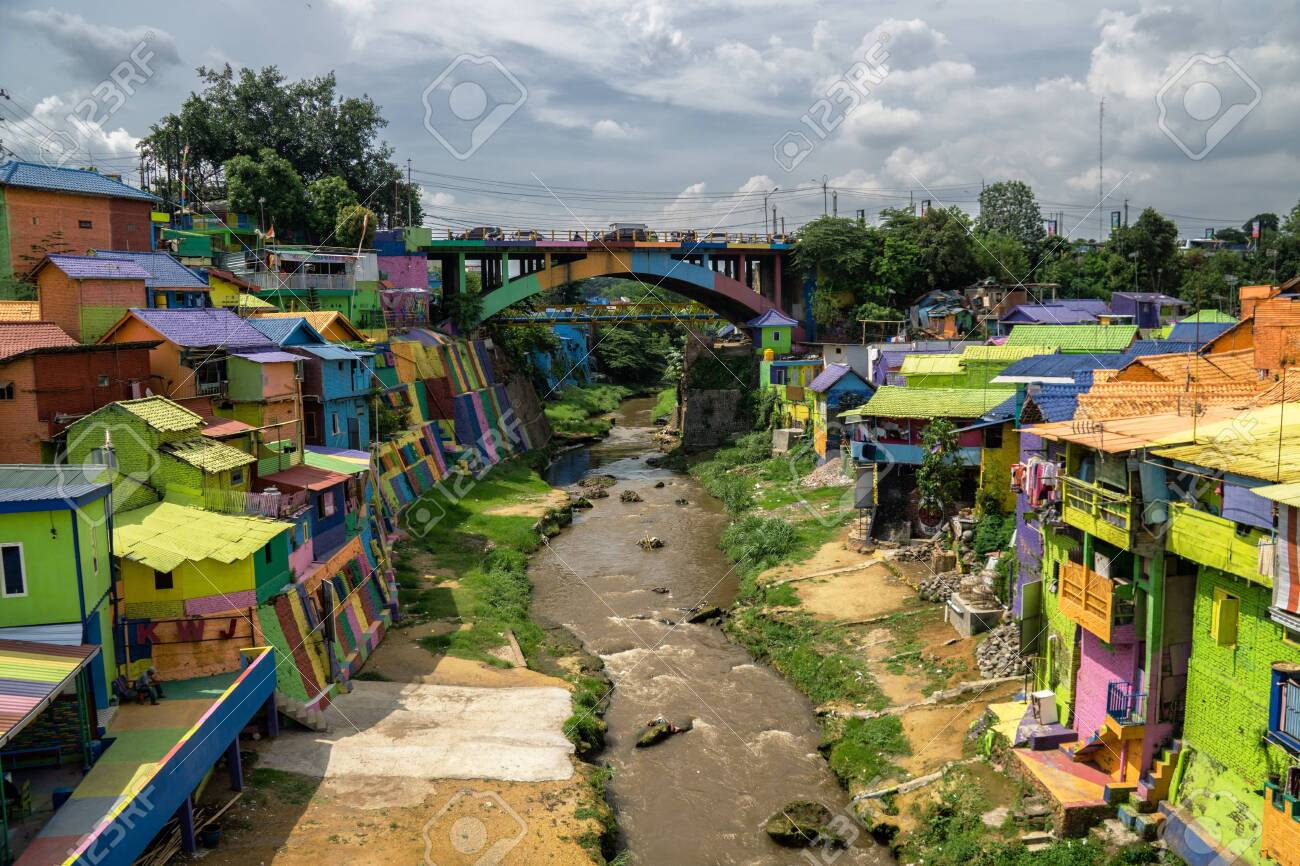 The Colorful Rainbow Village Of Malang On East Java Indonesia Stock Photo Picture And Royalty Free Image Image 143107157