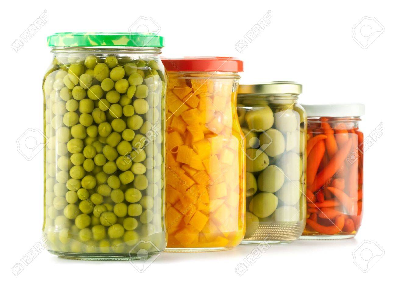 Composition of preserved peas, pumpkin, olives and pepper Stock Photo - 7847341