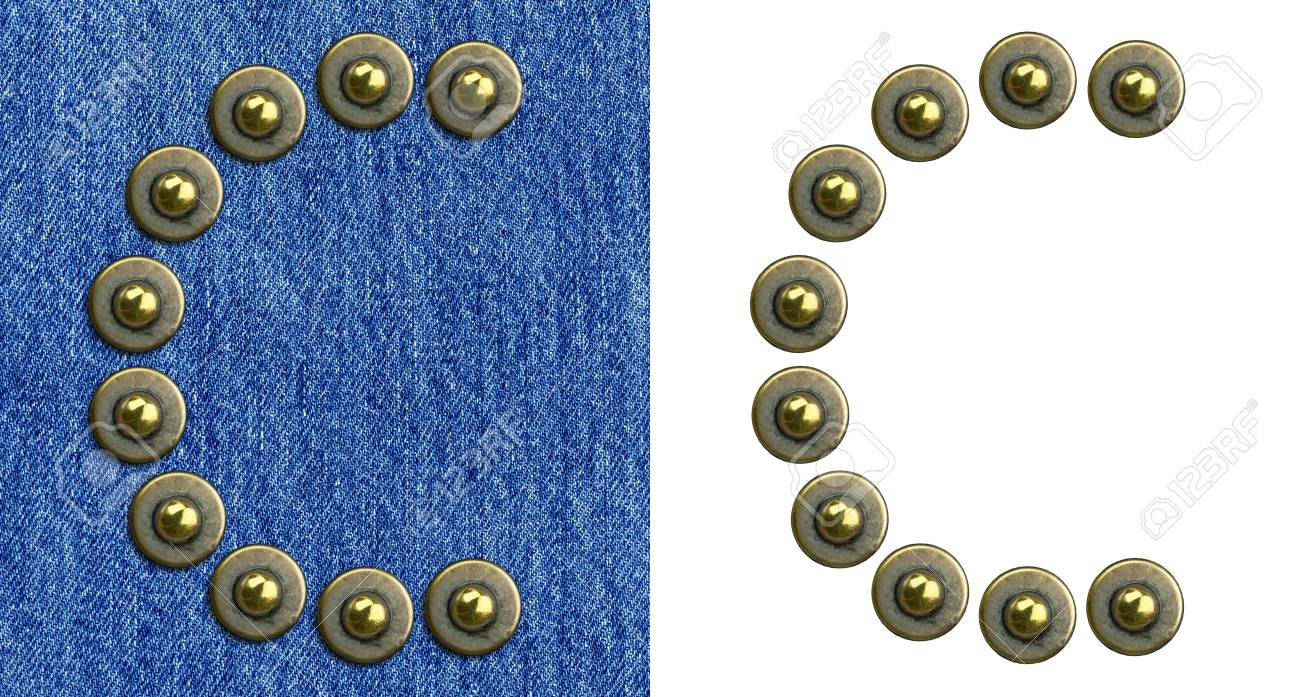Jeans rivet alphabet letter C. On jeans background and isolated. Stock Photo - 8641607